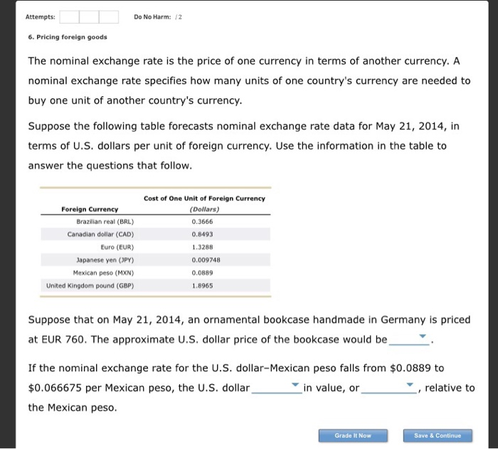 Pricing Questions: Solved: 6. Pricing Foreign Goods The Nominal Exchange Rate