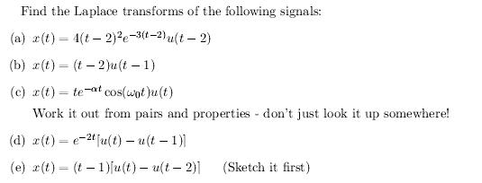 Find the Laplace transforms of the following signa