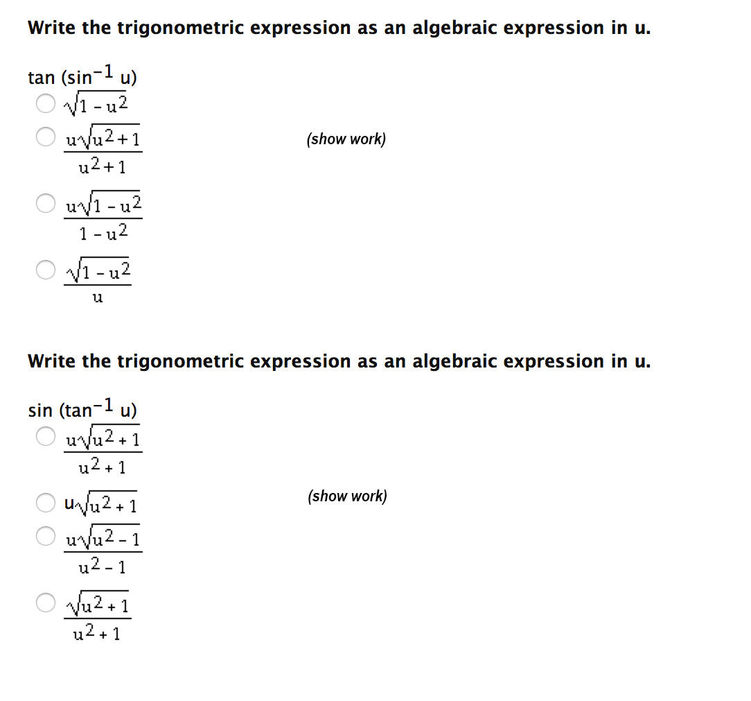 worksheet Algebraic Expression write the trigonometric expression as an algebraic chegg com image for in u trigonometric