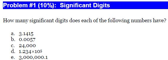 How many significant digits does each of the follo