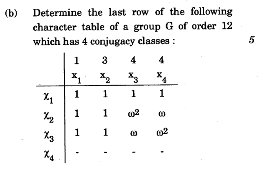 Determine the last row of the following character