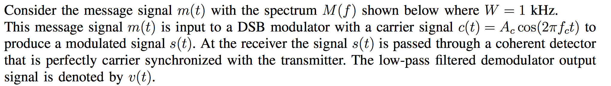 Consider the message signal m(t) with the spectrum