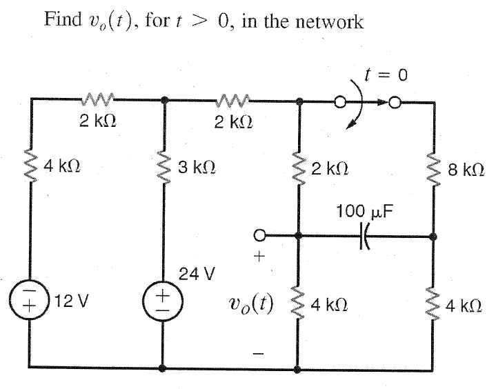 Find v0(t), for t > 0, in the network