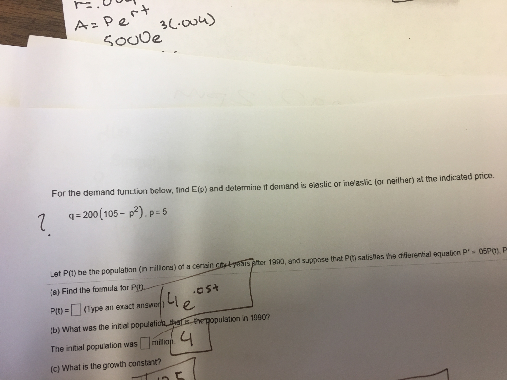 Question: For the demand function below, find E (p) and determine if demand is elastic or inelastic (or nei...