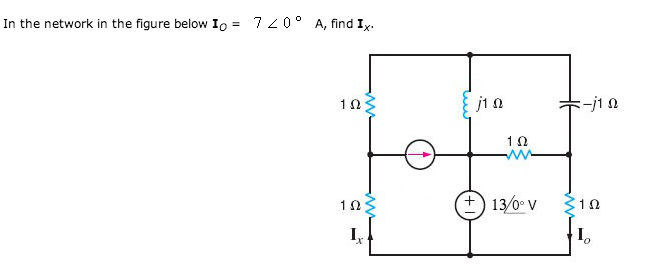 In the network in the figure below I0 = 7 < 0 deg