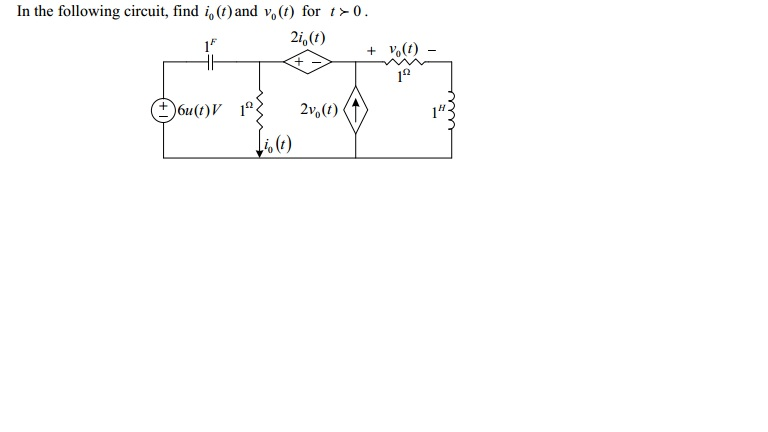 In the following circuit, find i0(t) and v0(t) for