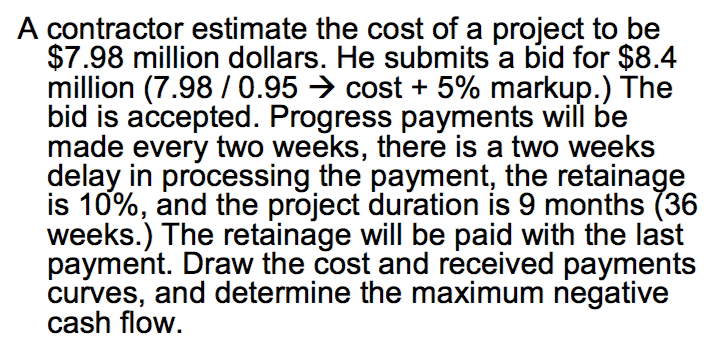 A Contractor Estimate The Cost Of A Project To Be $7.98 Million Dollars. He  Submits