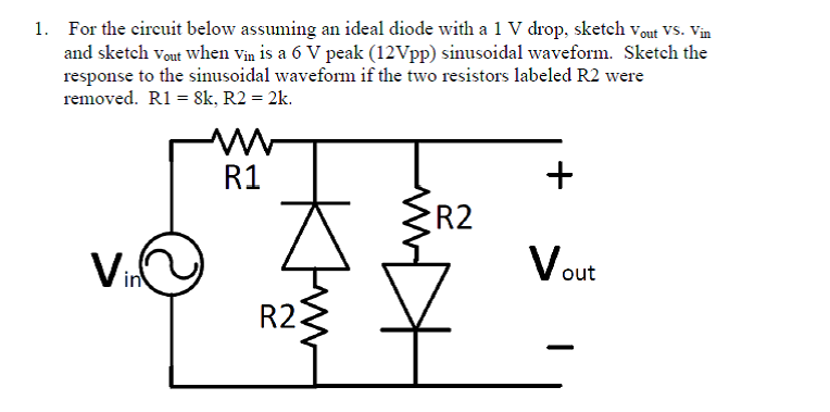Solved: For The Circuit Below Assuming An Ideal Diode With ...