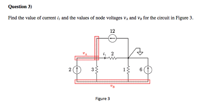 Find the value of current i1 and the values of nod