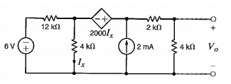 For the circuit shown, use mesh analysis to find t