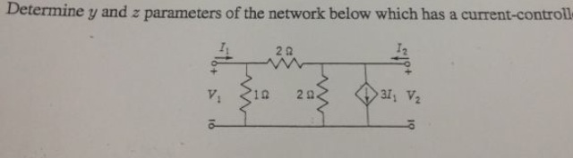 Determine y and z parameters of the network below