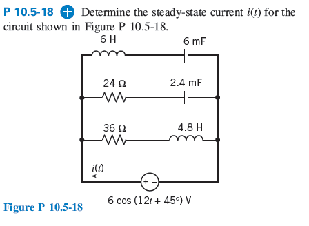 Determine the steady-state current i(t) for the ci