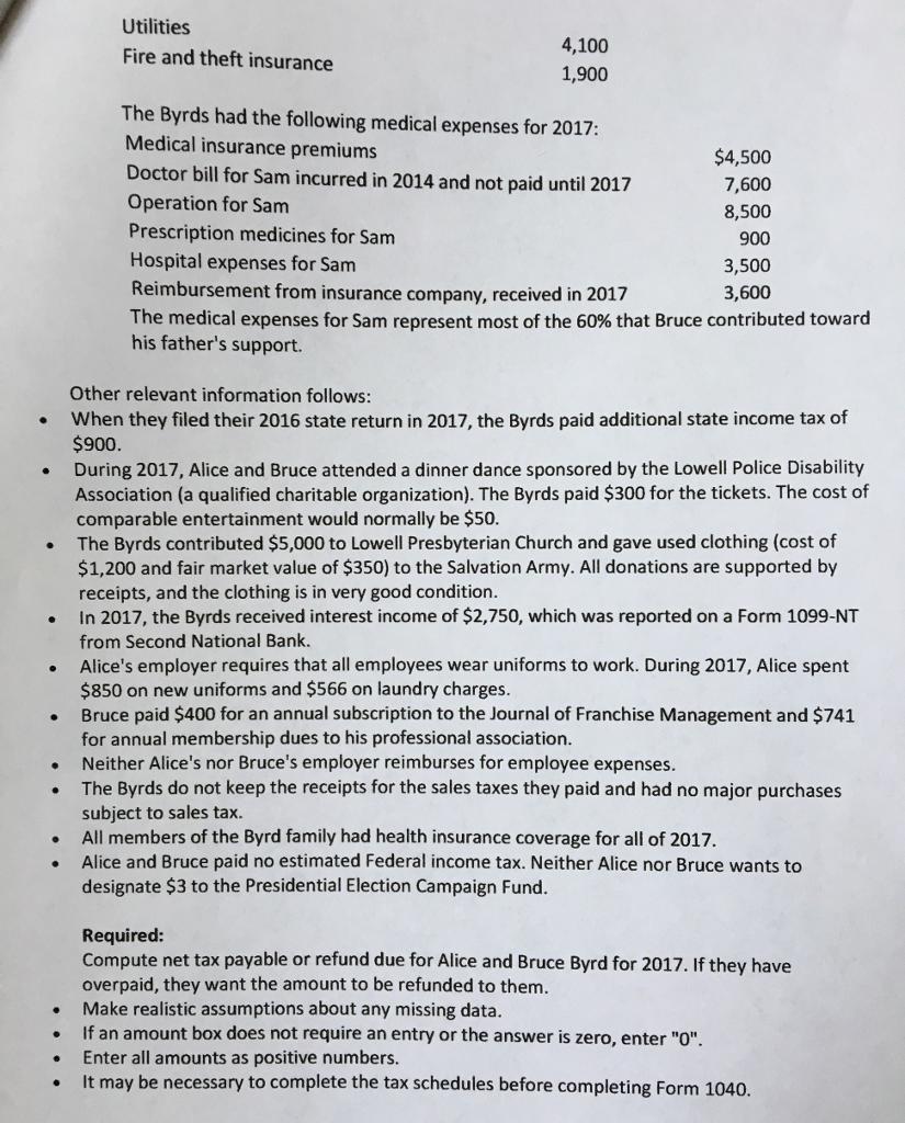 Prepare An Ohio State Income Tax Return, Form IT 1... | Chegg.com