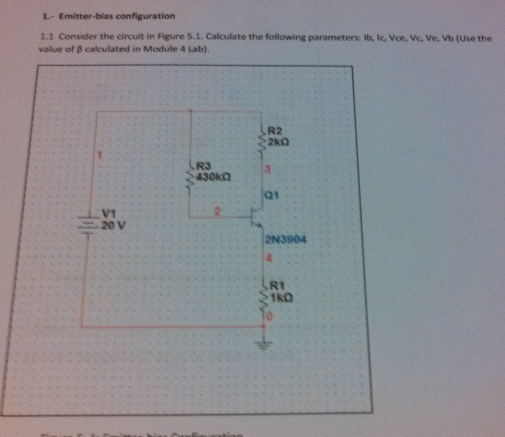 Emitter-bias configuration Consider the circuit i