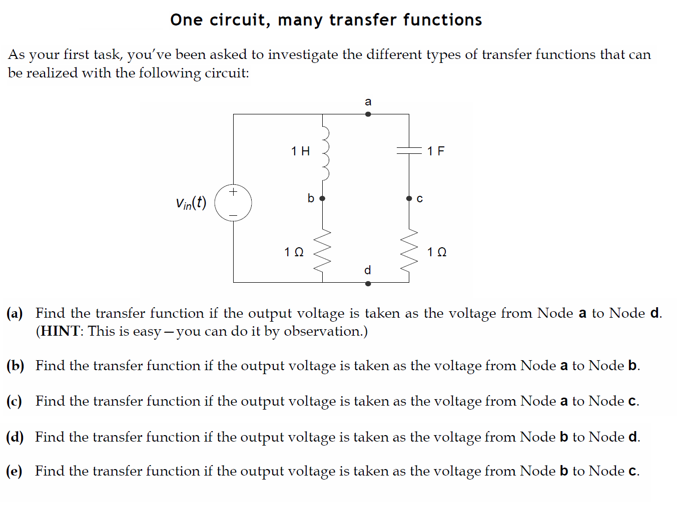 Find the transfer function if the output voltage i