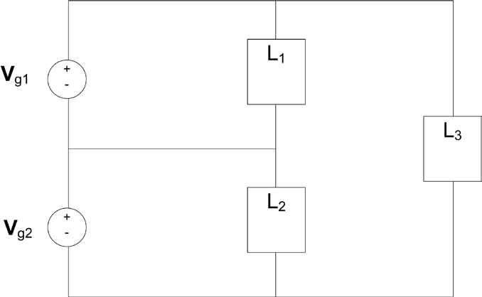 The 3 loads in the circuit given in Fi