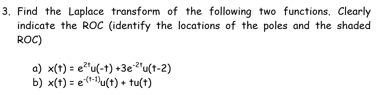 Find the Laplace transform of the following two fu