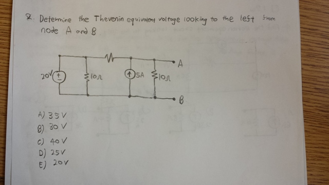 Determine the Thevenin equivalent voltage looking