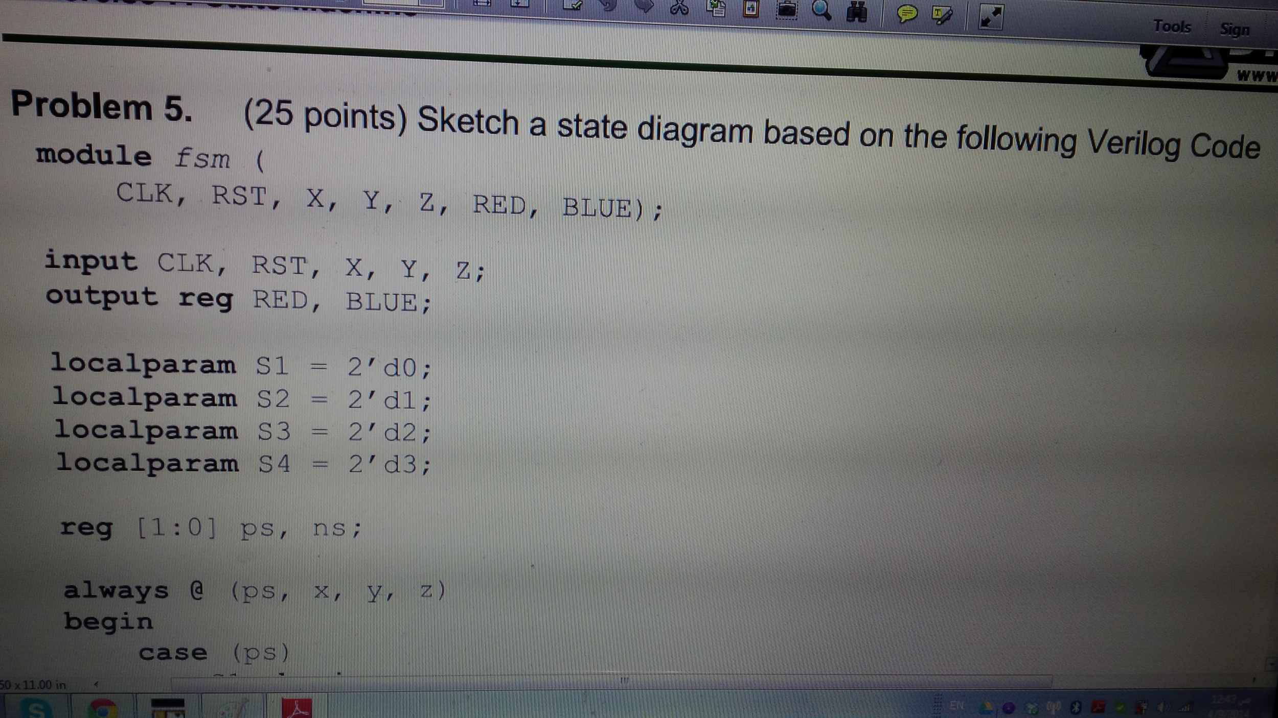 Sketch a state diagram based on the following Veri
