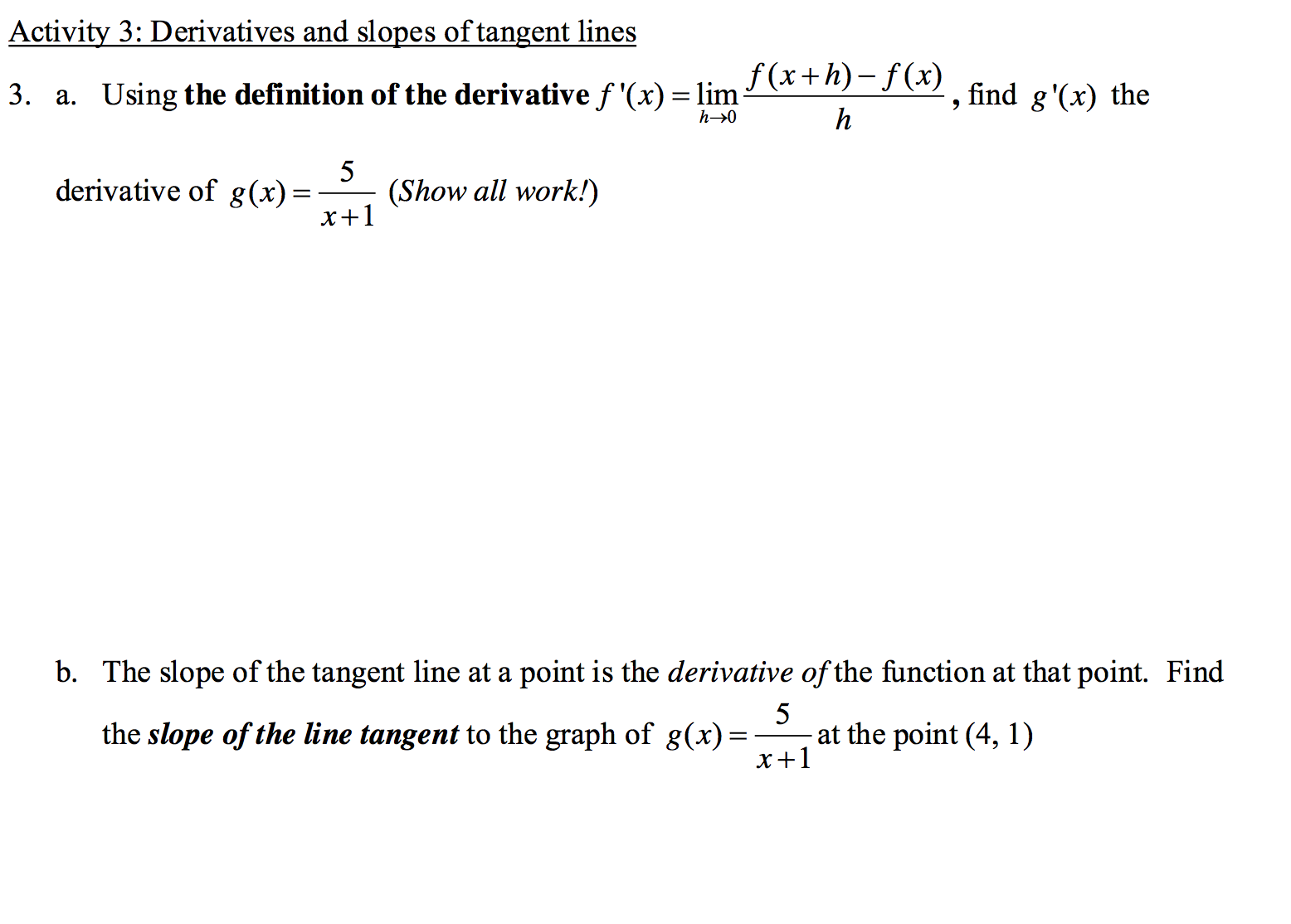 Image For Activity 3: Derivatives And Slopes Of Tangent Lines A Using The  Definition