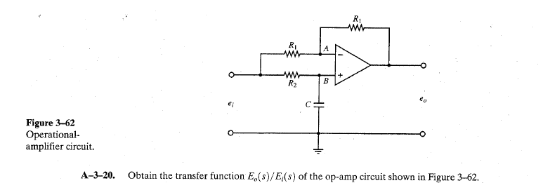 Obtain the transfer function Eo(s)/El(s) of the op