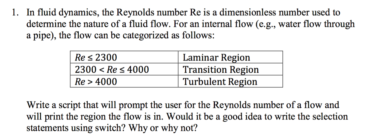 In Fluid Dynamics, The Reynolds Number Re Is A Dim... | Chegg.com