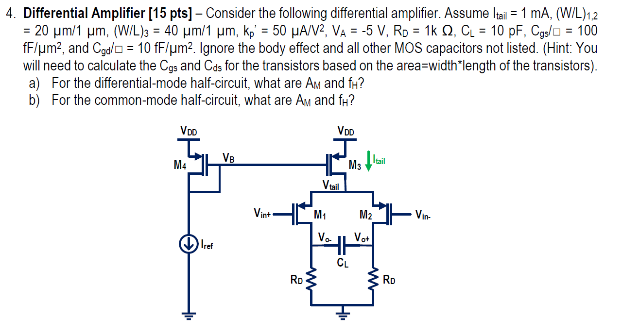 Consider the following differential amplifier. Ass