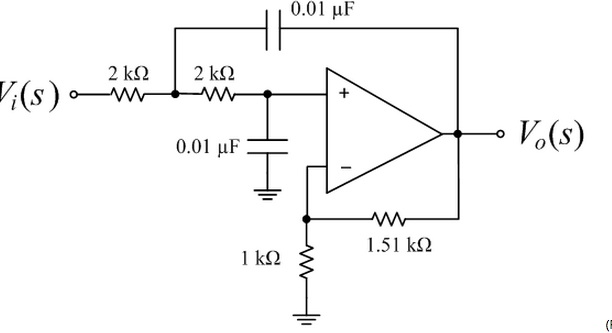 A second-order low-pass Sallen-Key filter is