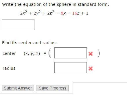 Write The Equation Of The Sphere In Standard Form.... | Chegg.com
