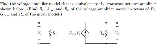 Find the voltage amplifier model that is equivalen