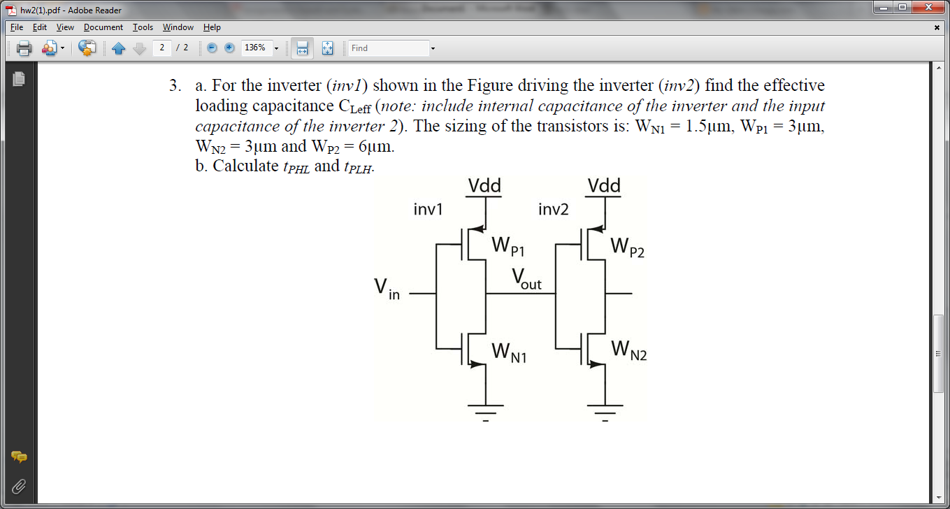 For the inverter (invl) shown in the Figure driv