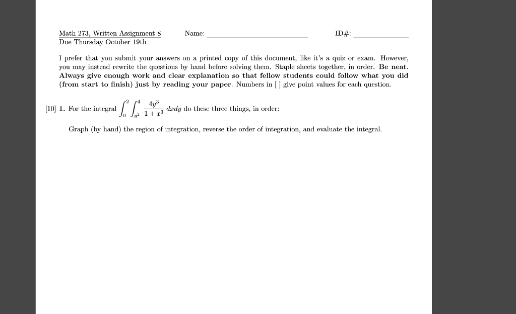 Solved: Math 273, Written Assignment 8Name: Due Thursday O ...
