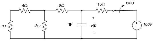 Find v(t), t>0, in the circuit below. (Note: the r