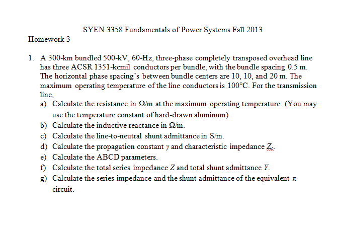 SYEN 3358 Fundamentals of Power Systems Fall 2013