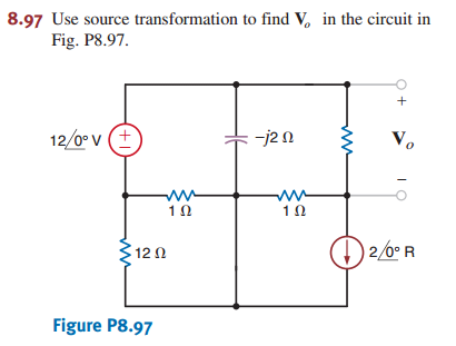Use source transformation to find V0 in the circui
