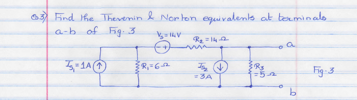 Find thevenin & Norton equivalents at terminals a