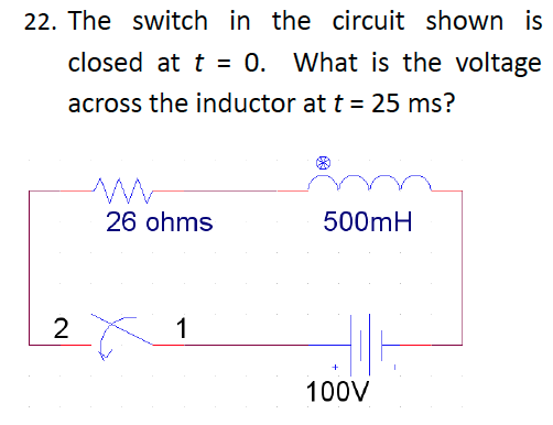 The switch in the circuit shown is closed at t = 0