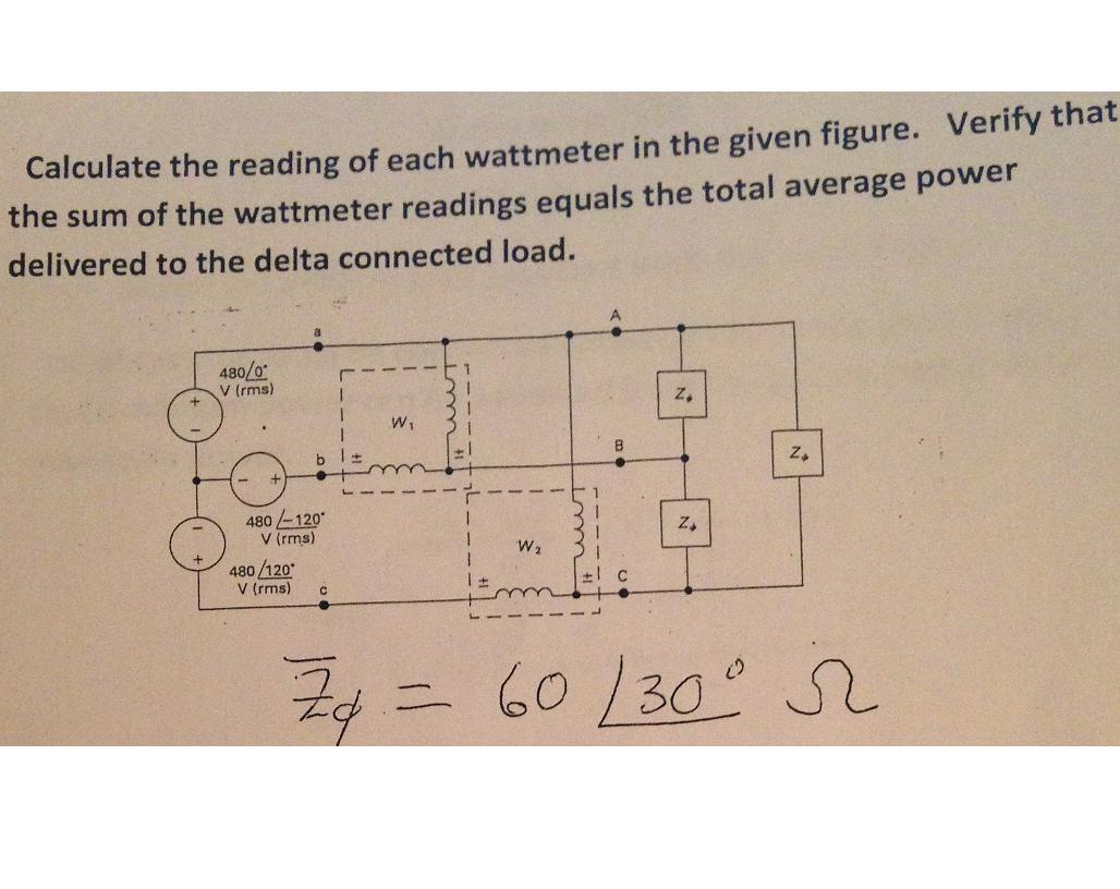 Calculate the reading of each wattmeter in the giv