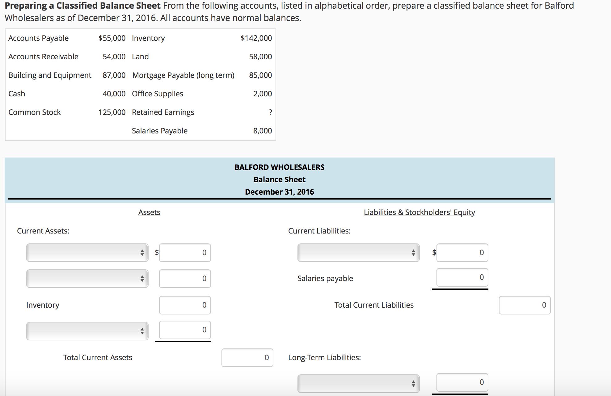 prepare balance sheet – Classified Balance Sheet Template