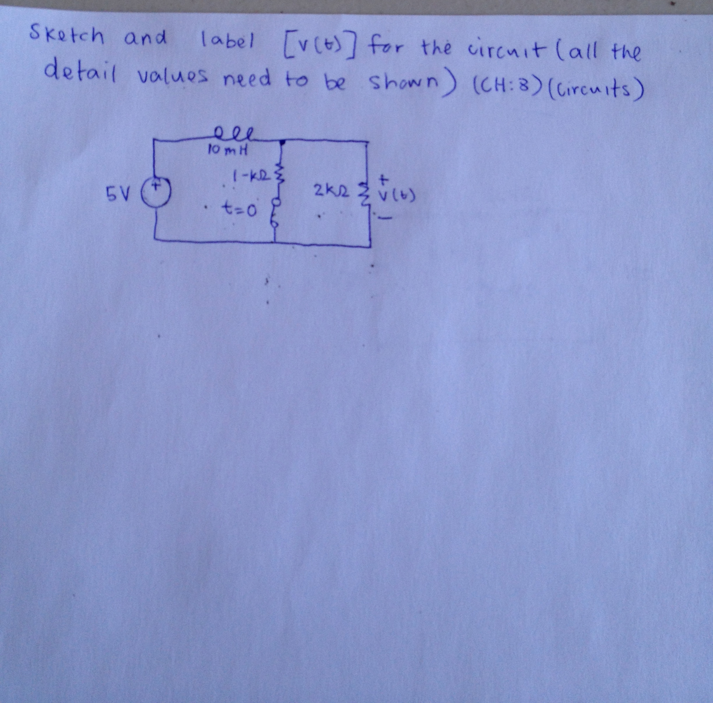 Sketch and label [(v(t)] for the circuit (all the
