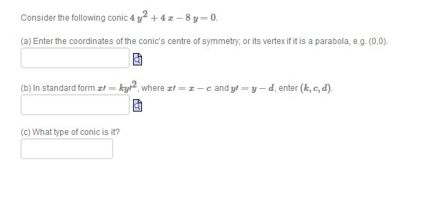 Solved Consider The Following Conic 4 Y2 4x 8y 0
