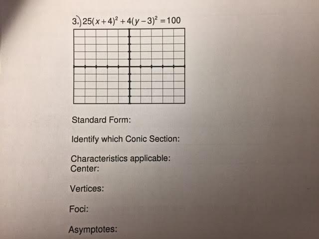 Solved 25x 42 4y 32 100 Standard Form Iden