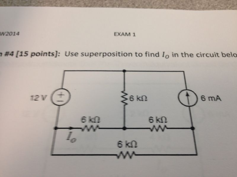 Use superposition to find Io in the circuit below