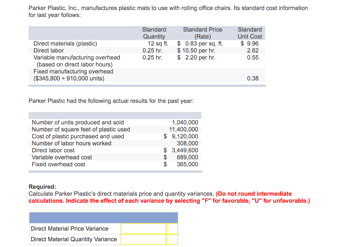 direct material price and quantity variances