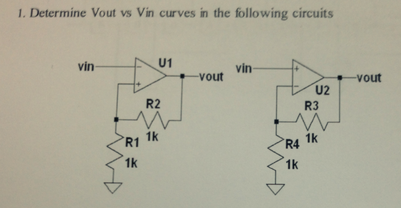 Determine Vout vs Vin curves in the following circ
