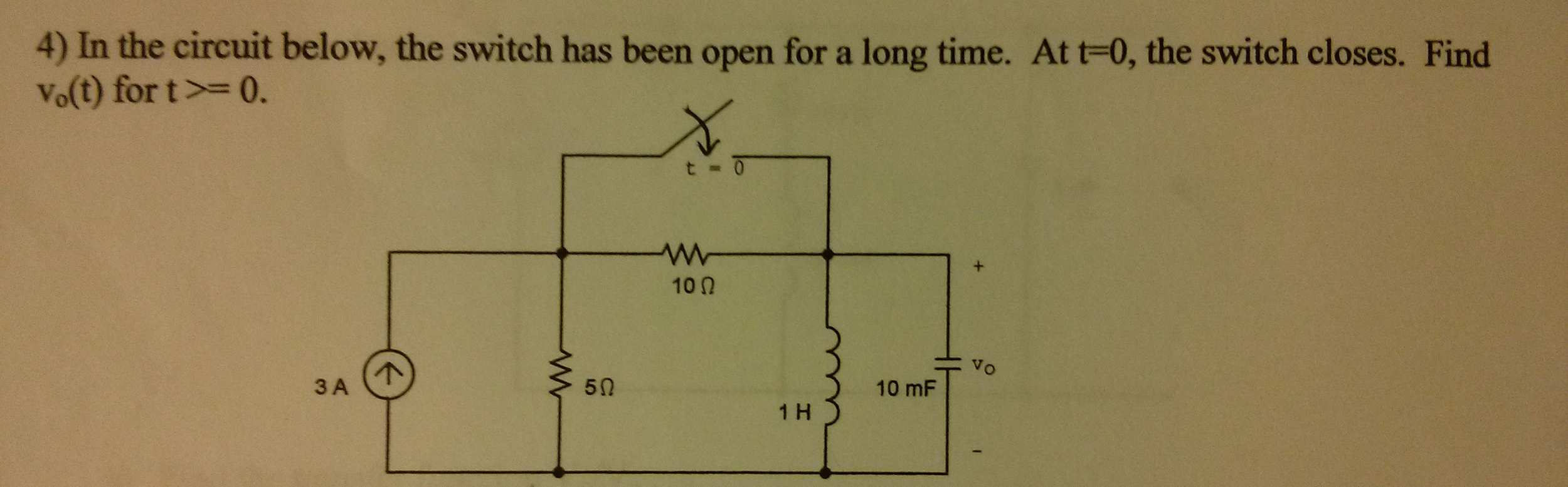 In the circuit below, the switch has been open for