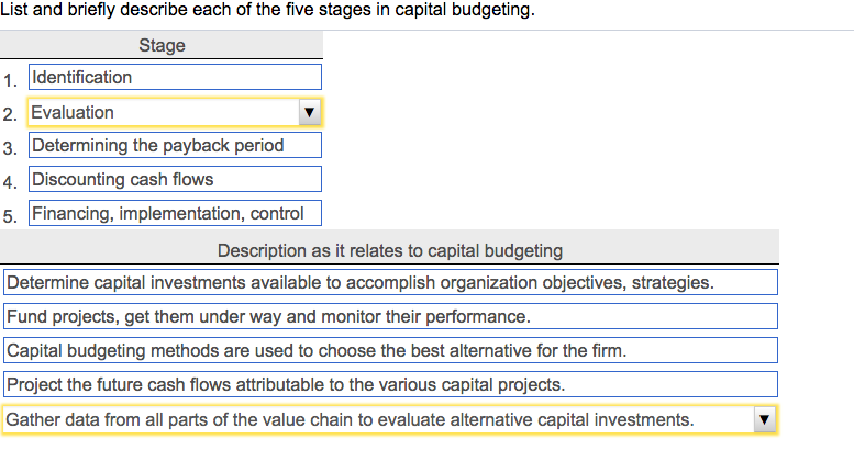 Question: List and briefly describe each of the five stages in capitalbudgeting.Description as it relates...