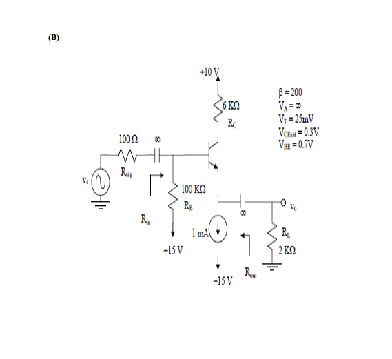 For each of the following amplifier circuits below