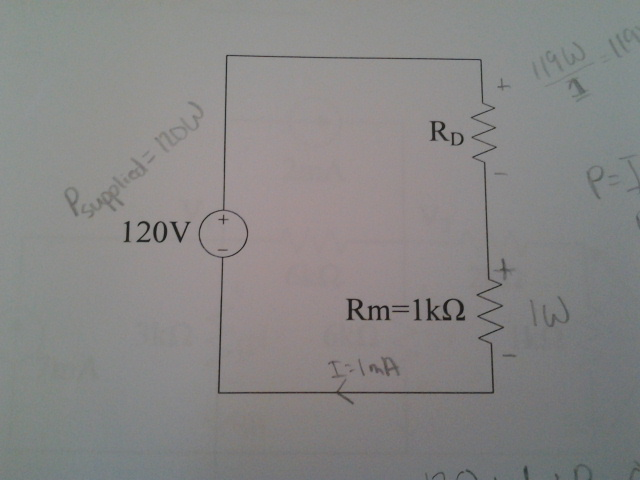 Resistor Rm in the circuit below has a maximum pow