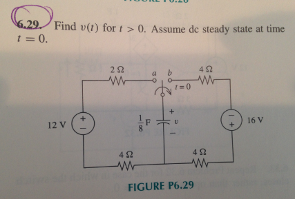 Find v(t) for t > 0. Assume dc steady state at tim
